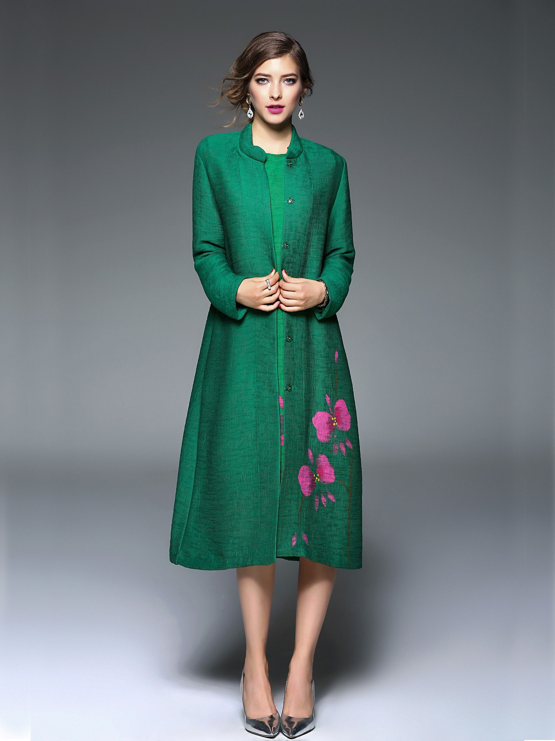 Green polyester floral print long sleeve single breasted dress coat
