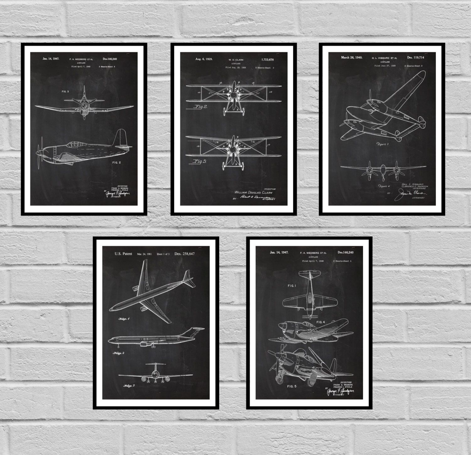Airplane patent set of 5 aircraft poster airplane art aviation airplane patent set of 5 aircraft poster airplane art aviation decor airplane malvernweather Gallery