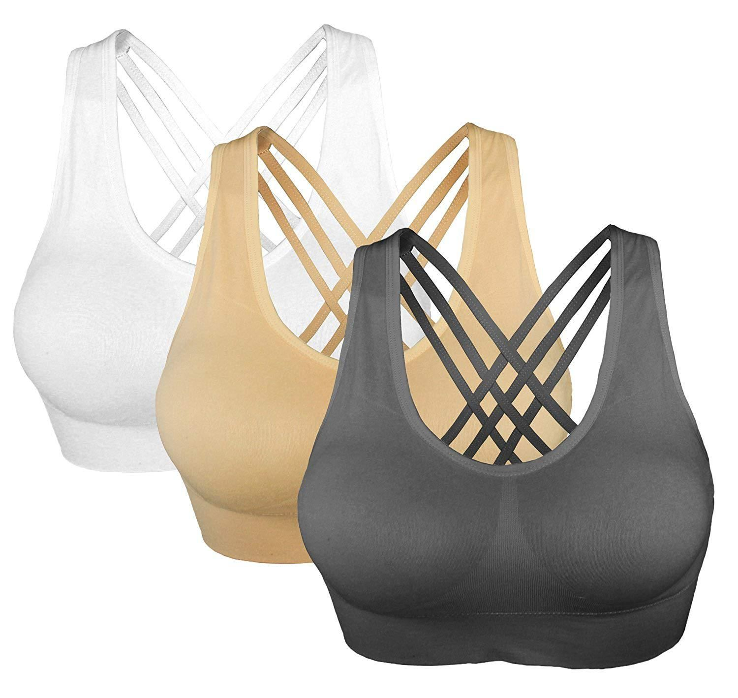 863f59032a97e Cabales Womens 3Pack Lace Cover Sports Bra With Removable Pads at Amazon  Womens Clothing store