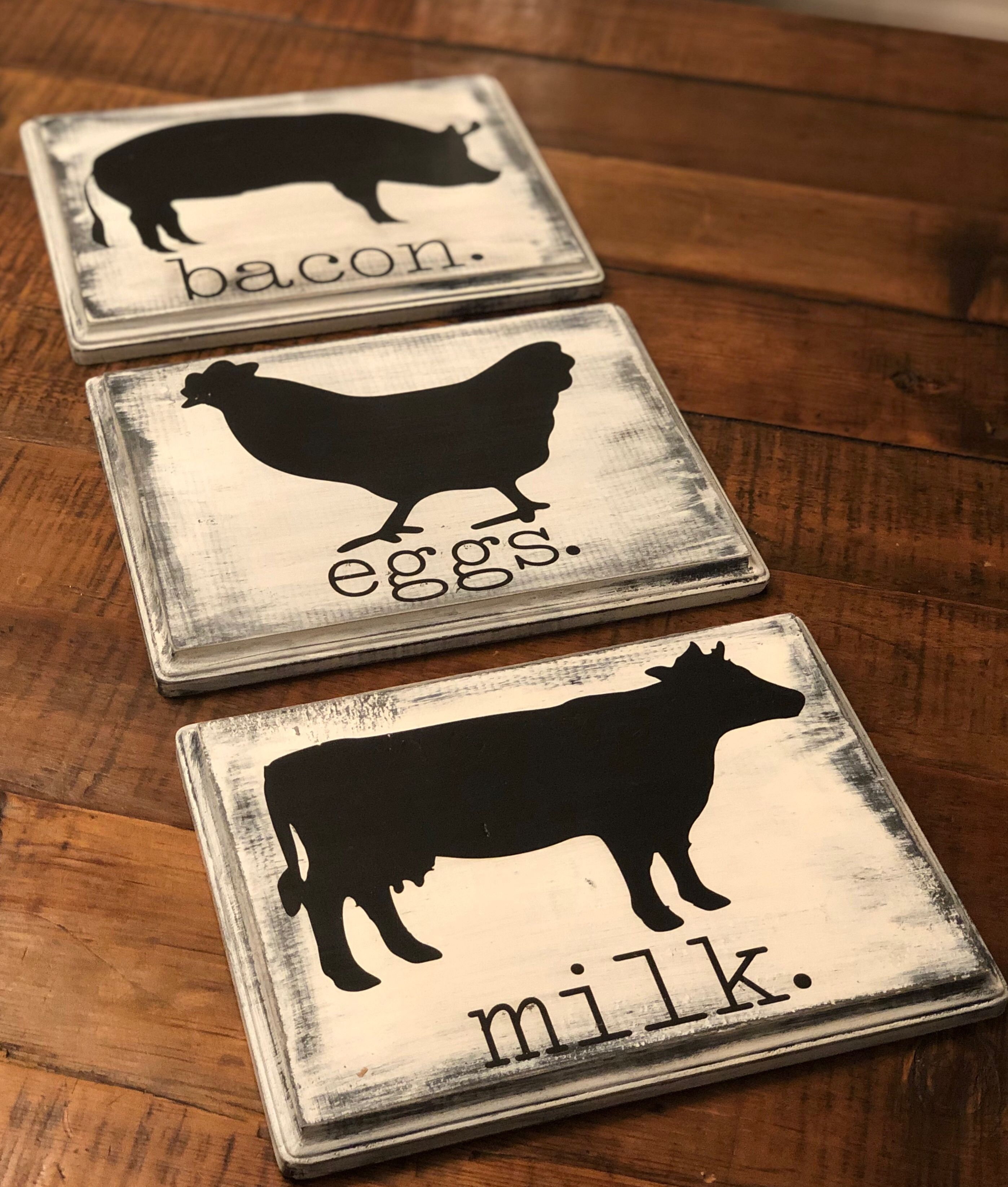 Farmhouse Signs Farm Animals Cow Pig Chicken Farm Animal Decor Kitchen Cow Kitchen Decor Diy Kitchen Decor