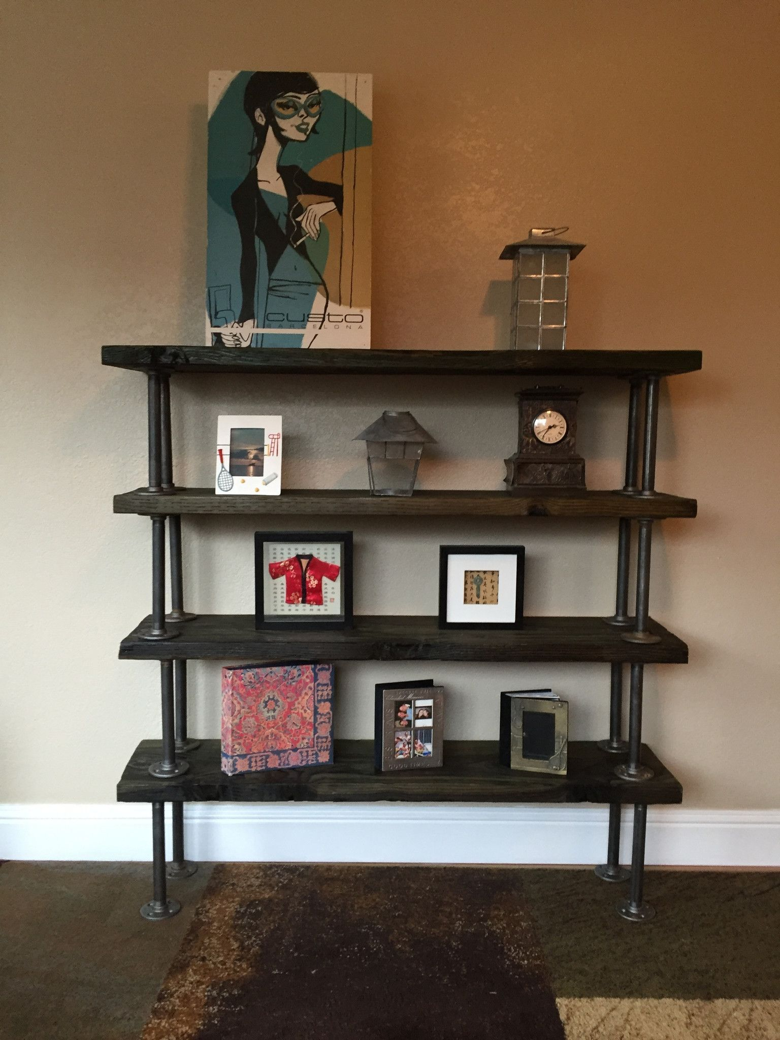 Decorative Industrial Shelving Reclaimed Bookcase With Industrial Piping Industrial