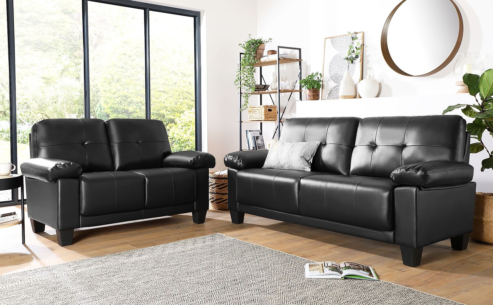 Linton Small Black Leather 3 2 Seater Sofa Set Sofa Set Bedroom Furniture Sets 2 Seater Sofa