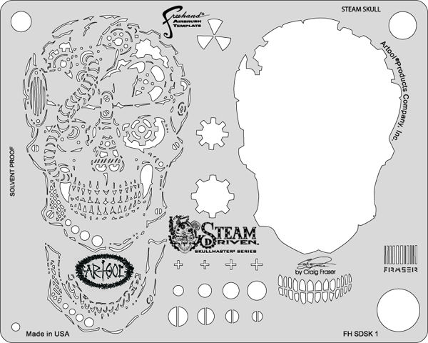 artool freehand airbrush templates steam driven steam skull - airbrush templates