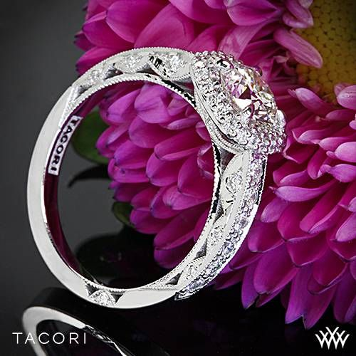 A single string of diamonds along the ceiling and the unique, cushion-shaped double bloom make this ring an impressive, positively beautiful ring. With a gorgeous carriage. #Whiteflash #Tacori