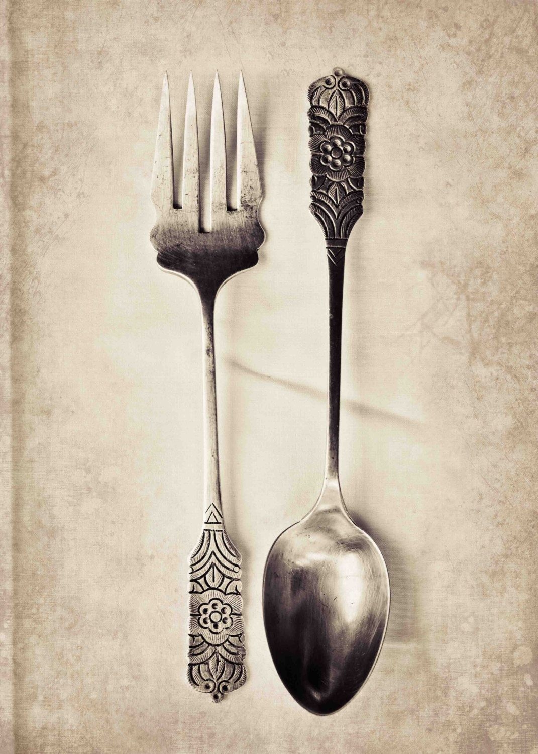 Food Photography, Antique Fork & Spoon Print, Kitchen Wall Decor ...