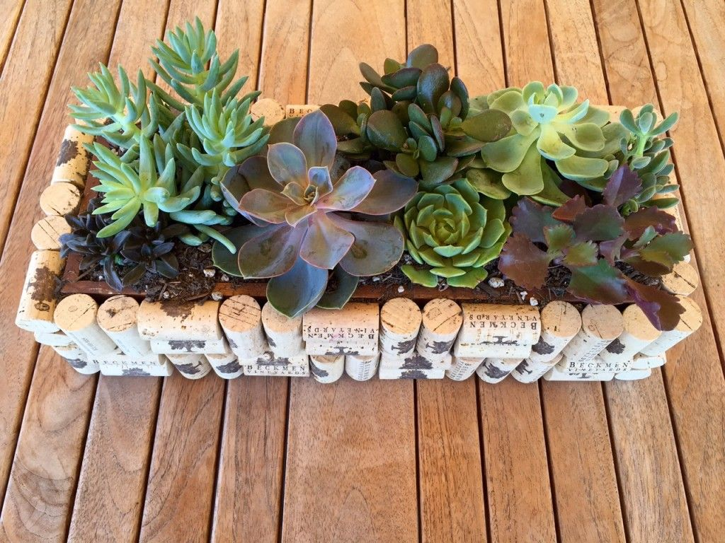 Diy cork planter boxbeckmen vineyards craft projects pinterest cork planters and cork crafts - Manualidades con corchos ...