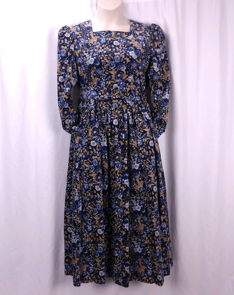 59d33bfc2f7 Vintage Laura Ashley Prairie Dress 14 US 18 UK Blue Floral Needlecord  Pockets