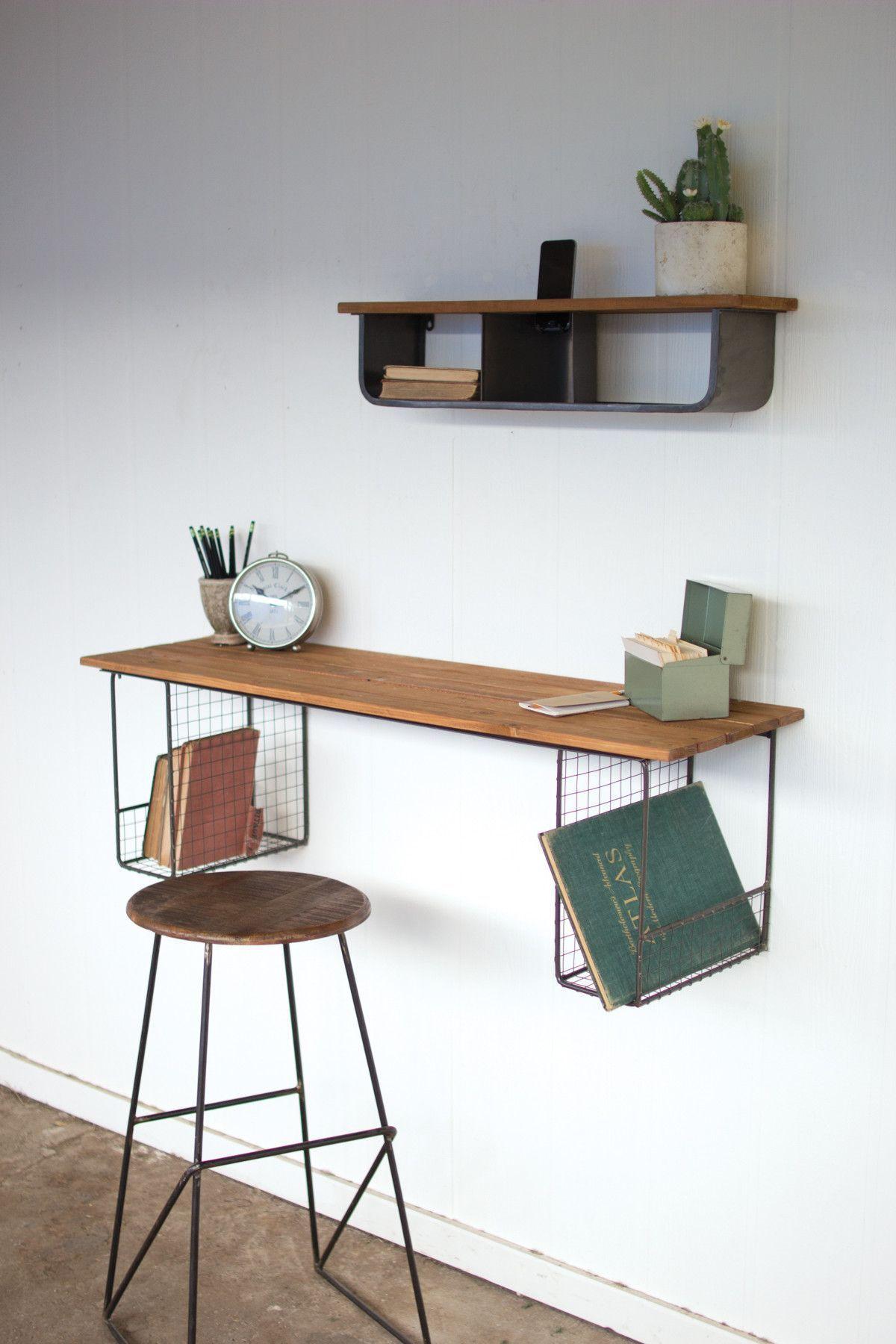 Kalalou Honey Wood Wall Mount Desk Shelves With Wire Baskets