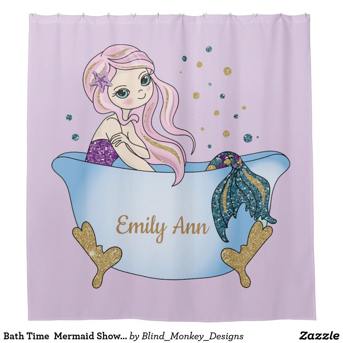 Ariel Shower Curtain Bath Time Mermaid Shower Curtain Zazzle Mermaids Mermaid
