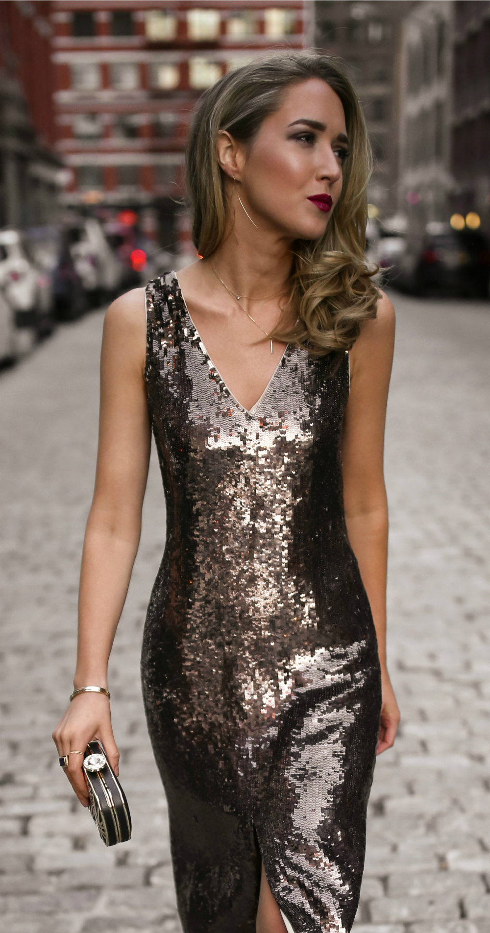30 DRESSES IN 30 DAYS New Year's Eve // Gold sequin midi