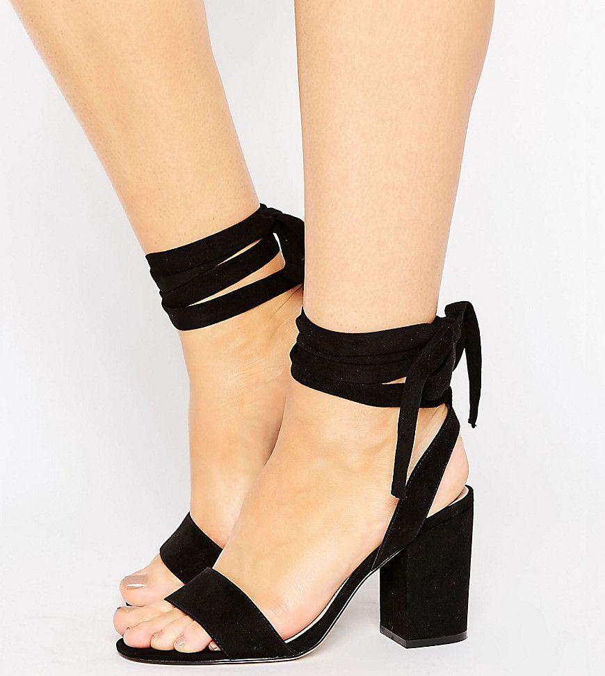 ASOS HOLDING ON Wide Fit Tie Leg Sandals Black | Heels