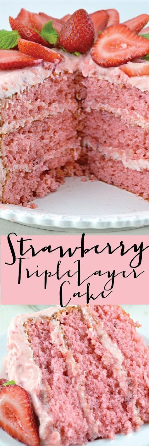 Strawberry Triple Layer Cake