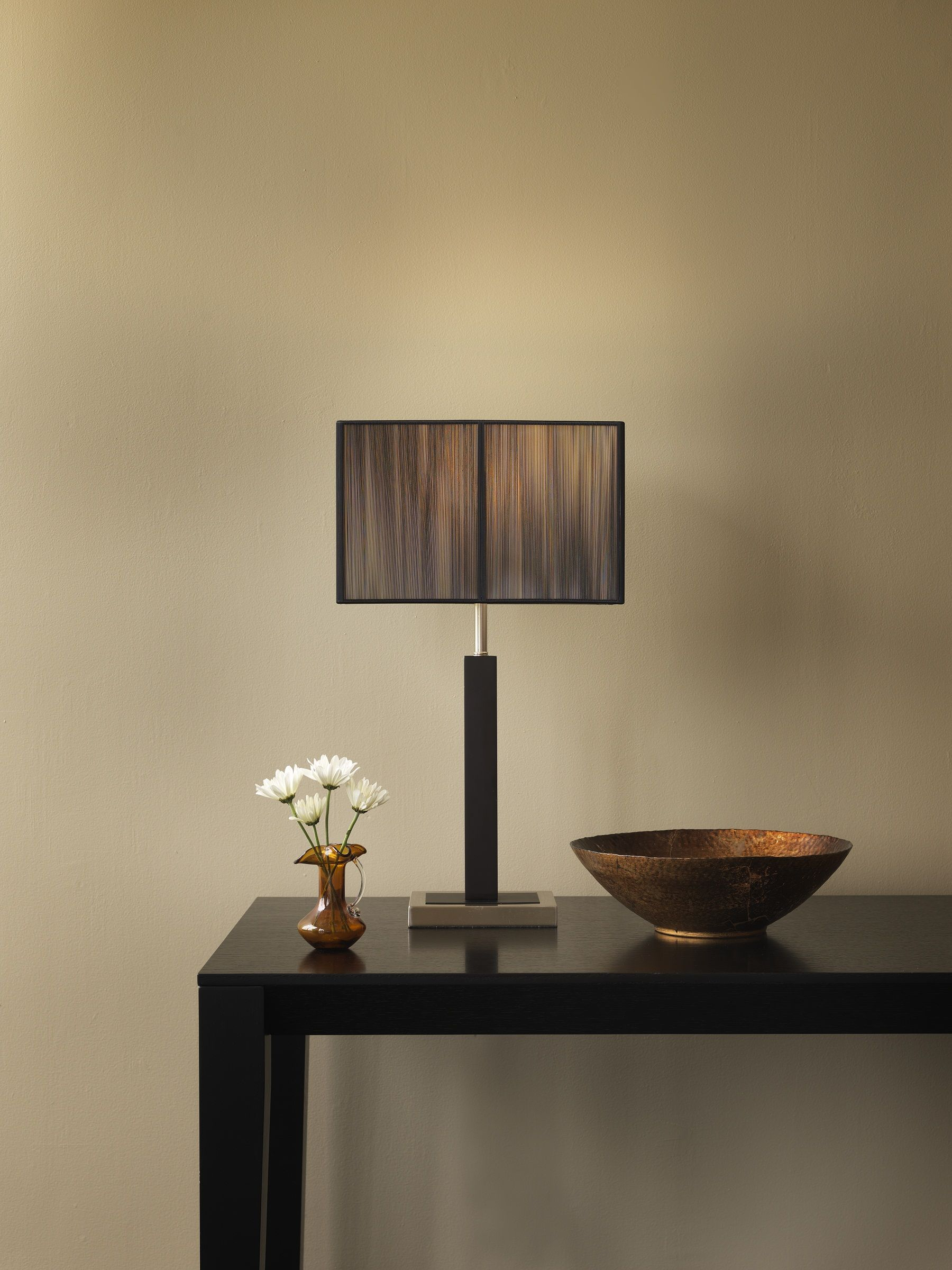 Sharper image table lamp black silk string shade w brown painted wooden smooth chrome base si100014 189 00 available at selected retailers