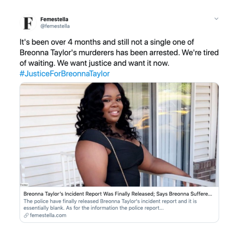 Breonna Taylor S Incident Report Was Finally Released Says Breonna Suffered No Injuries Femestella Black Lives Matter Movement Human Decency Black Lives Matter