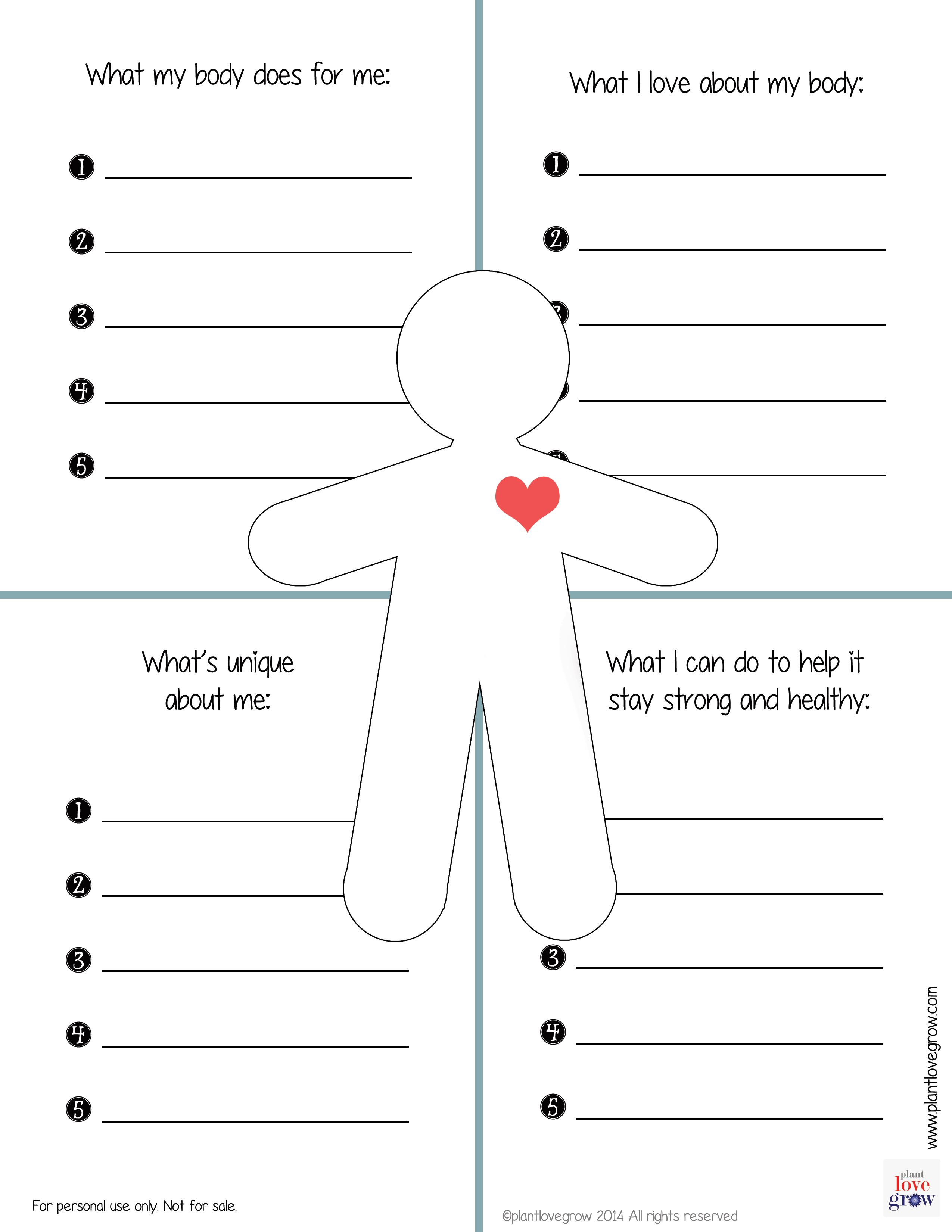 Worksheets Building Self Esteem Worksheets what my body does for me i love about whats unique can do to help it stay strong and healthy c