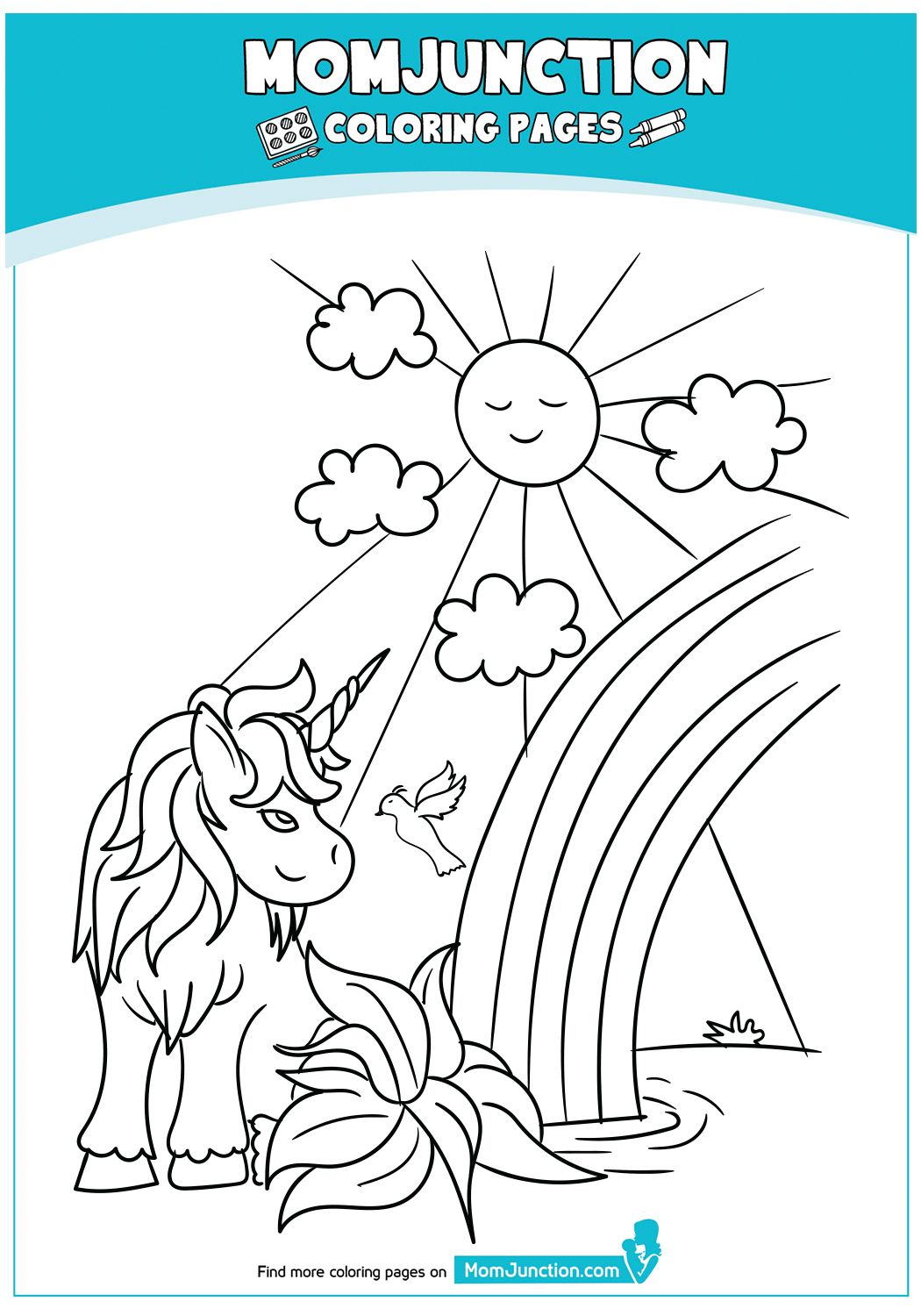 Unicorn-Watching-Rainbow-on-Pond | Coloring pages, Mom ...