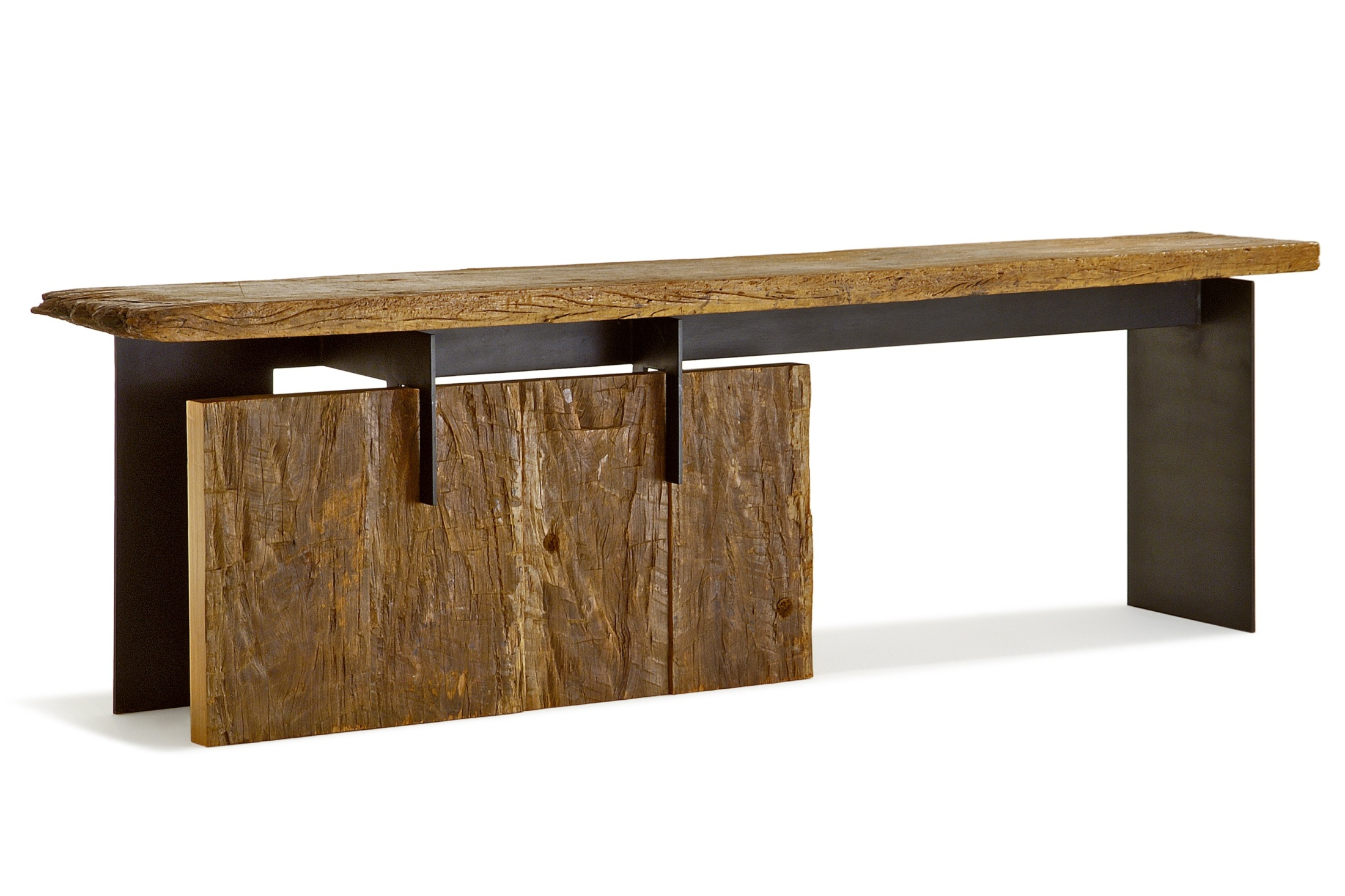 Peroba Wood Weathered Metal Console Table 83 Inches Long