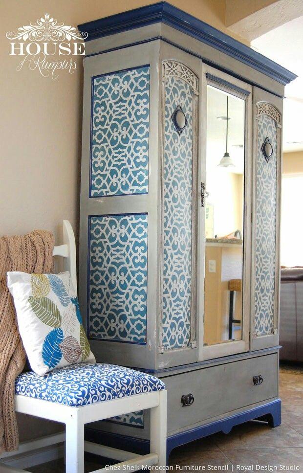 Armario empapelado   Restauración de Muebles   Pinterest