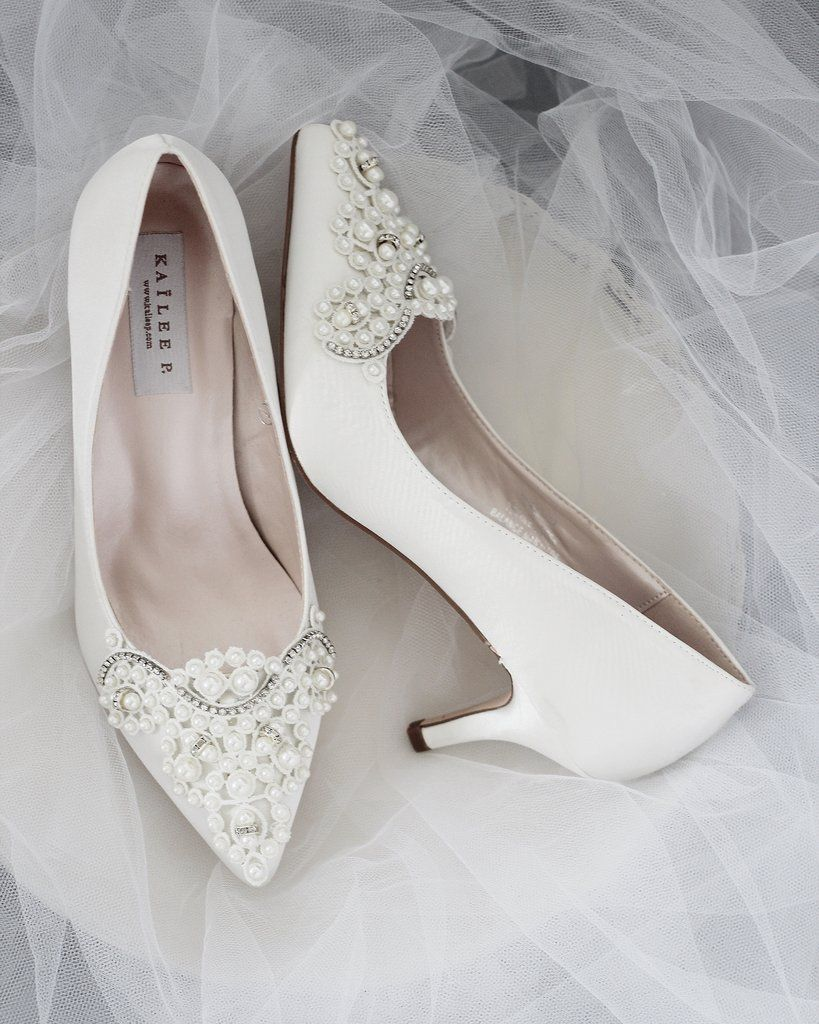 Off White Satin Kitten Heel With Oversized Pearls Applique Bride