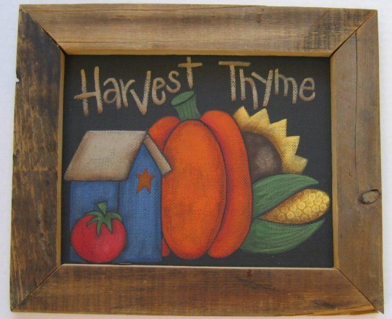 Tole Painting Pattern, Harvest Thyme, Fall or Autumn Sign, Featuring Birdhouse, Orange Pumpkin, Sunflower, and Tomato, Instructional Pattern #tolepainting