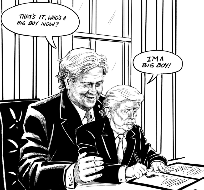 anti trump cartoon by vancouver artist goes viral political cartoons and donald trump. Black Bedroom Furniture Sets. Home Design Ideas