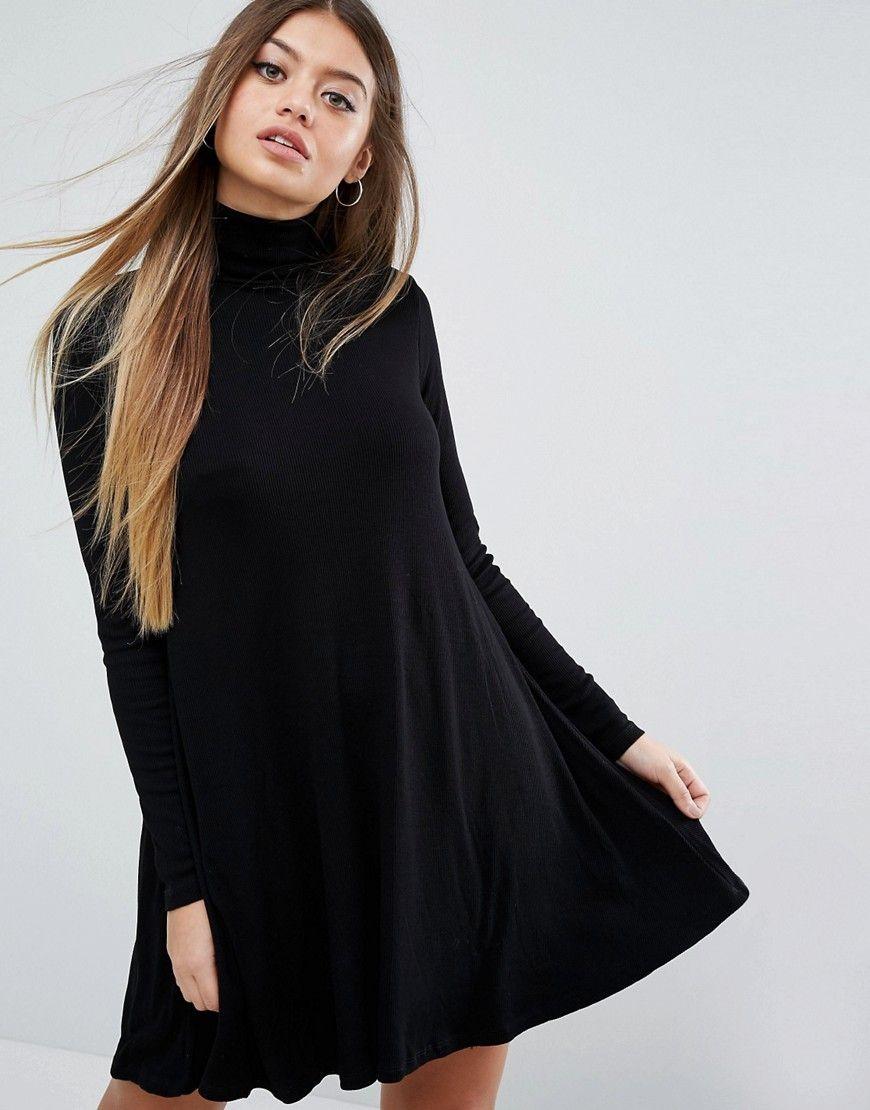 Asos swing dress in rib with turtleneck u long sleeves dress code