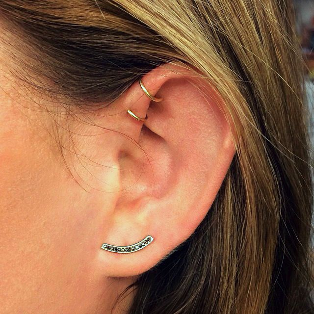 Double helix piercings by j colby smith from ny adorned for Helix piercing jewelry canada