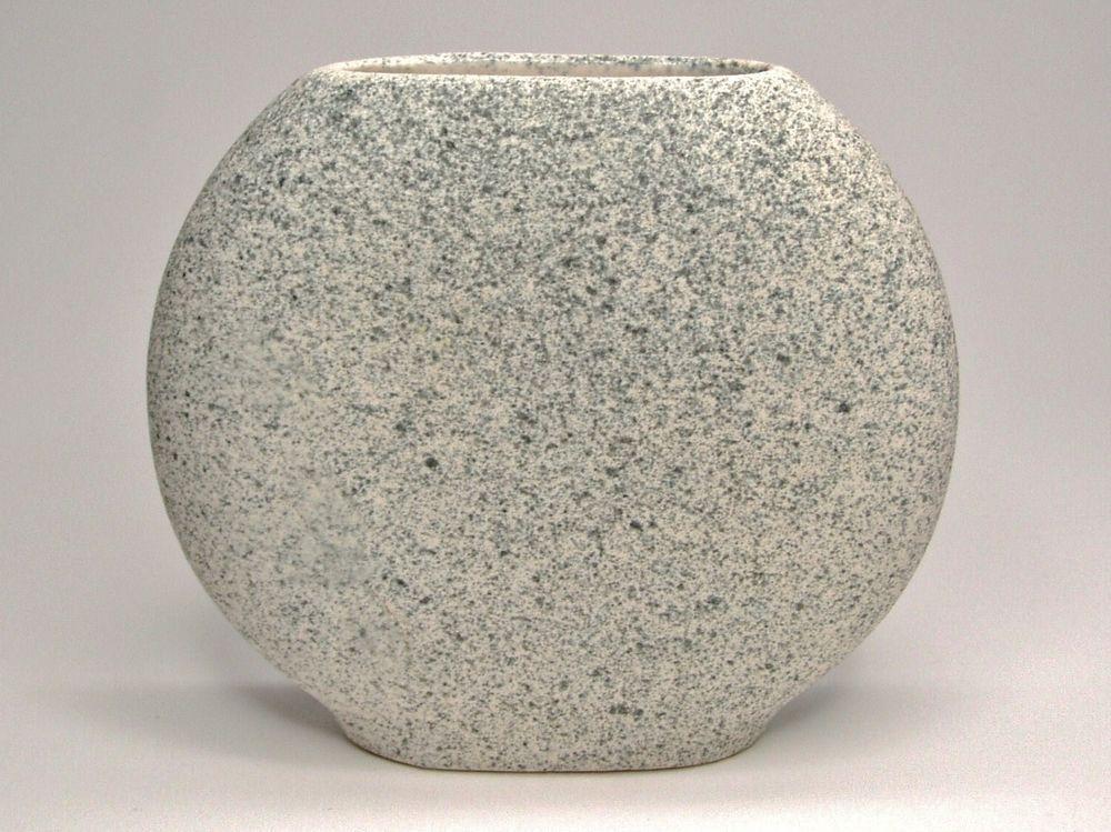 Vintage Mid Century Modern Thin Circular Blue Speckled Sand Textured Vase  #Unknown