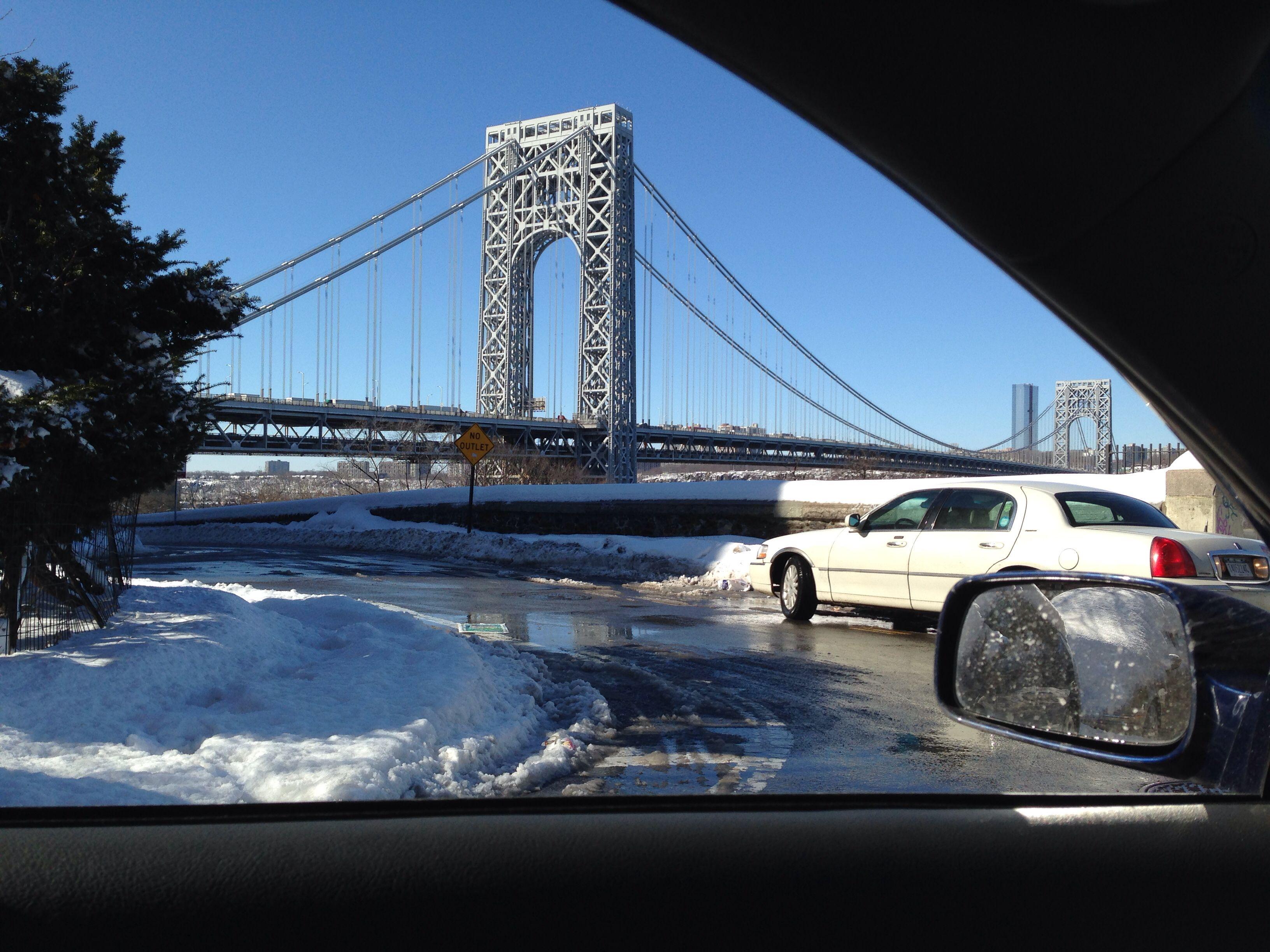 GW bridge snow on valentines day 2014/NYC/Washington Heights
