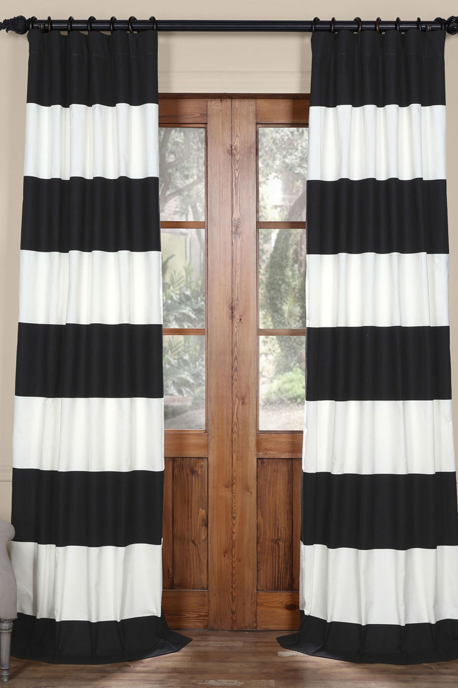 These Cotton Twill Black And White Drapes Provide A Classic Look