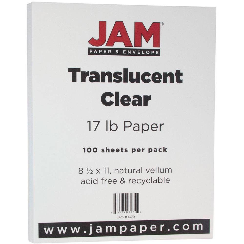 JAM Paper Translucent Vellum 17lb Paper - 8.5 x 11 - Clear - 100 Sheets