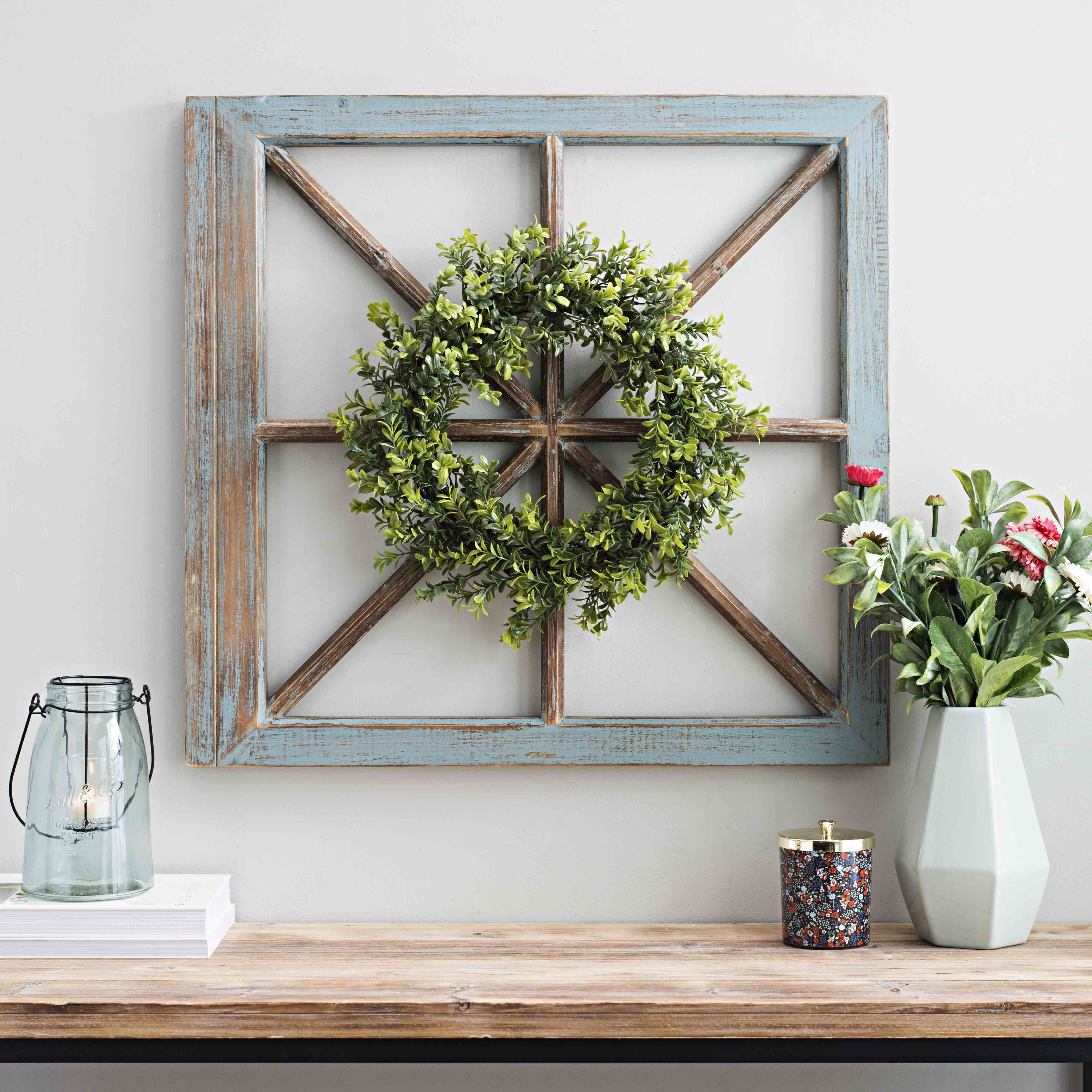 Rustic Window Panes Mixed With Green Wreaths Create The Perfect Piece For Your Entryway Or Living Room Save This Pin For Later Boxwood Wreath
