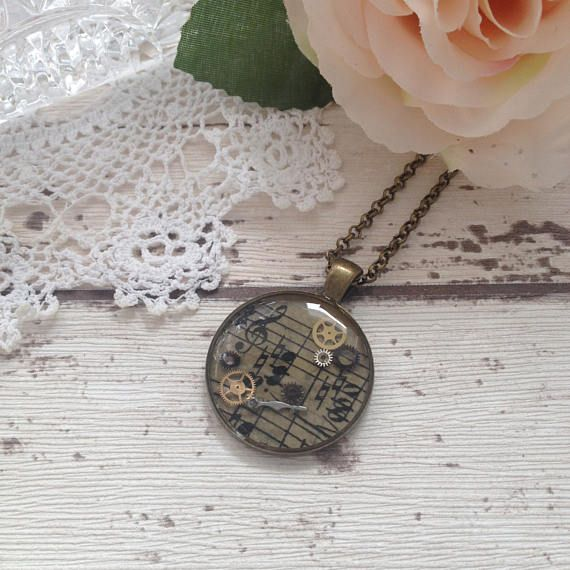 Vintage musical score cameo bronze steampunk pendant