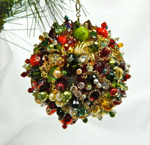 SUPER BLING VIntage jewelry and beaded ornament by 3SisterzJewelry, $45.00