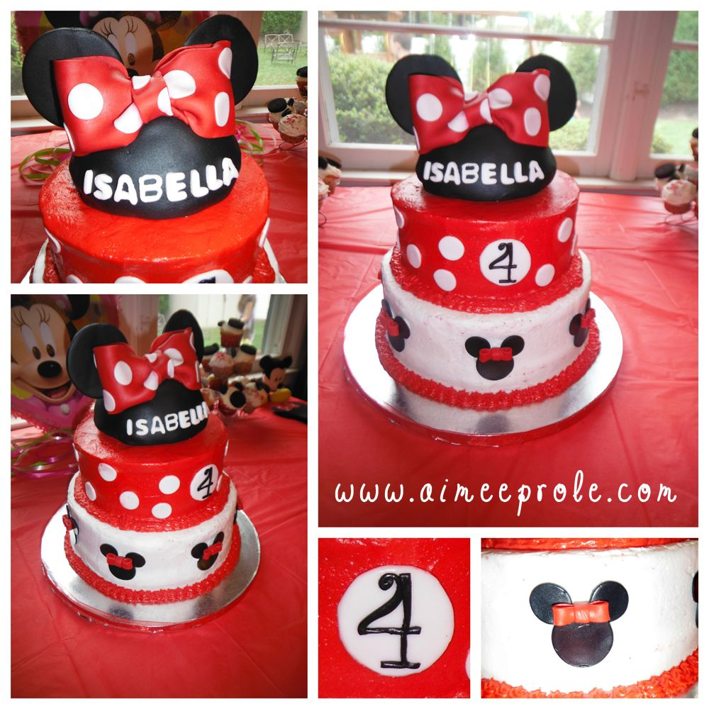 Red Minnie Mouse Icing Cake Design