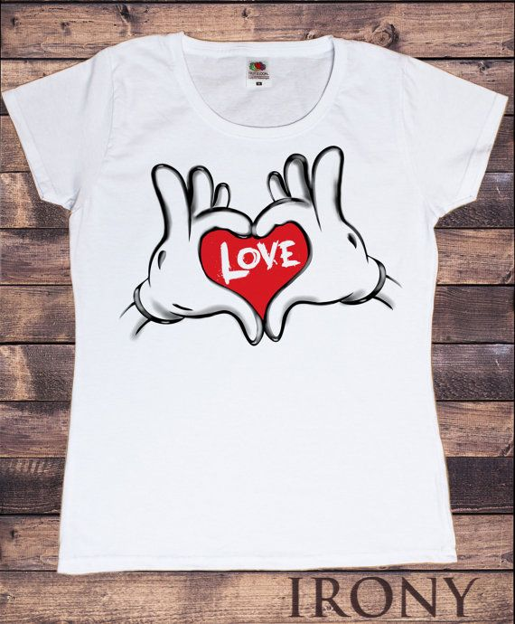 Camiseta blanca Mickey amor manos-manos mujeres en forma de un ... e5dd44234e36b