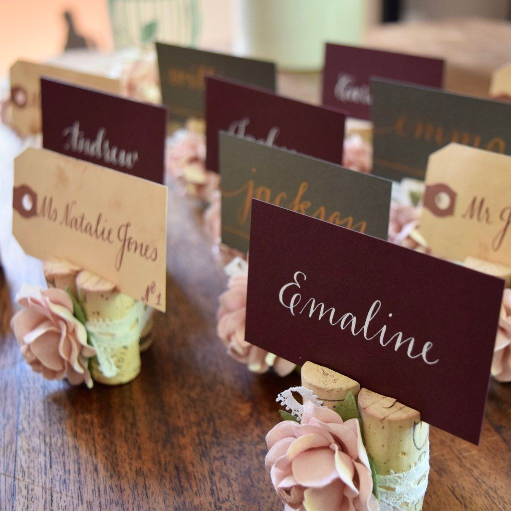 Wedding Place Card Holder Ideas: Lace & Rose Wedding Place Card Holder