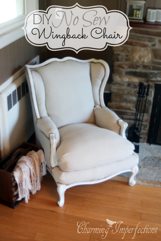 super affordable diy no sew wingback chair re upholster tutorial