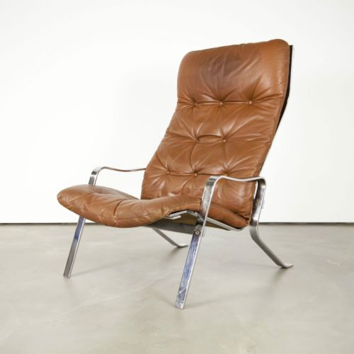 mid century modern leather lounge chair 60s leder - Planner Sessel