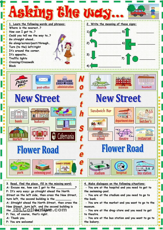 asking the way teaching kids esl pinterest english worksheets and language. Black Bedroom Furniture Sets. Home Design Ideas