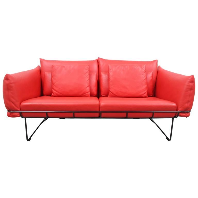Red Leather Two Seater Sofa Corbin Herman Miller Wireframe Seat In Mcl By Hecht