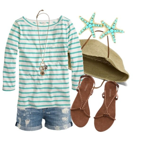 """Beach Life"" by qtpiekelso on Polyvore. I am IN LOVE with these shorts!"