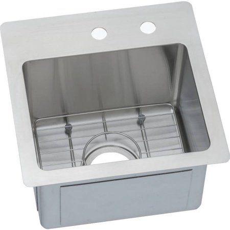Elkay ECTSR15159BGMR2 Crosstown Stainless Steel Single Bowl Dual-Mount Sink Kit with 2 Faucet Holes