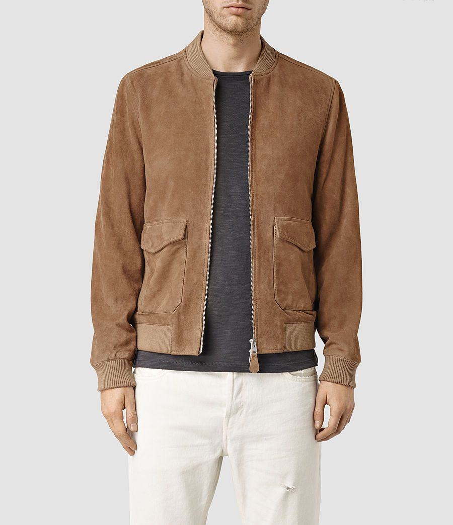 Allsaints Uk Mens Bloomington Leather Bomber Jacket Sand Brown Leather Jacket Men Leather Jacket Style Suede Bomber [ 1044 x 900 Pixel ]