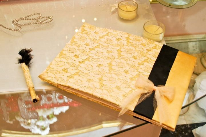 Gold satin and off white lace handmade guestbook with tulle bow and matching pen