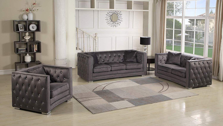 Amazon Com Best Master Furniture Ruby 3 Pcs Velour Living Room Sofa Set Grey Kitchen Dini Living Room Sofa Set Grey Furniture Living Room Living Room Sofa [ 848 x 1500 Pixel ]