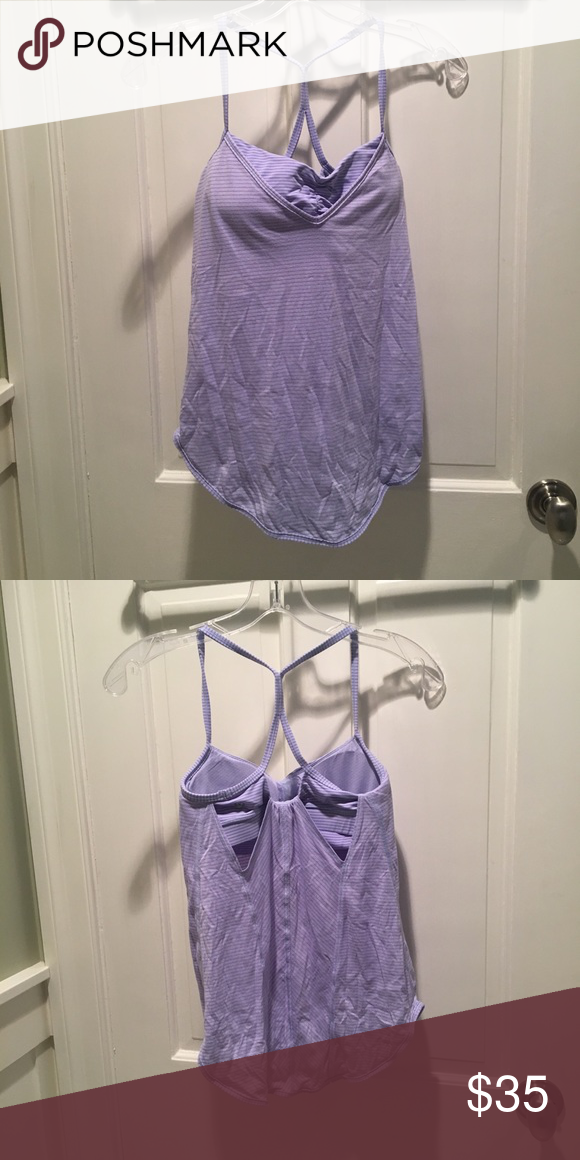 fc356897f4 Lululemon Lavender Light Blue Tank Top Size 4 Lululemon flowy tank top with attached  sports bra. The sports bra is scrunched in the center.