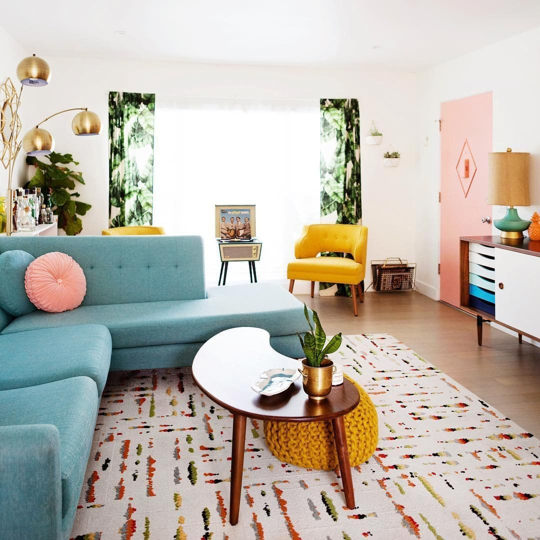 We Want To Be Where The Color Is Via Melodrama Hiphaven Bulletplanter Mid Century Living Room Colourful Living Room Mid Century Modern Living Room