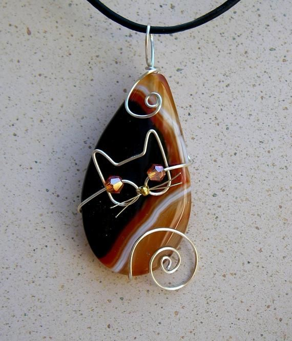 Photo of Silver Wire Cat on Orange Accented Agate Pendant Necklace