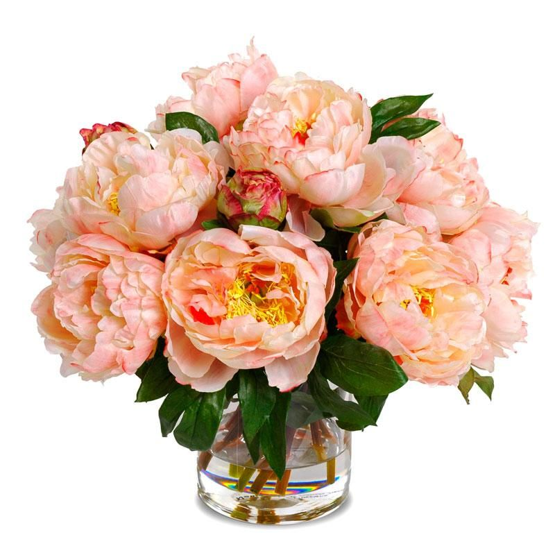 Peach Peonies Faux Flower Arrangements Faux Flowers Flower Arrangements